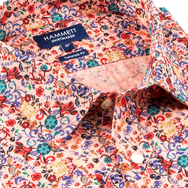 Colourful Floral Print Tailored Fit Men's Shirt