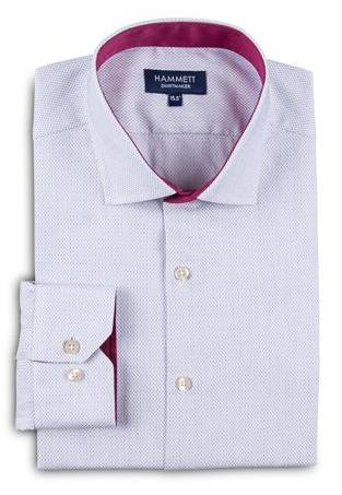 Luxury Fine White Men's Shirt With Designer Contrast Detail