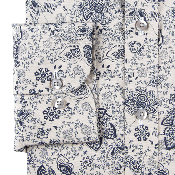 Navy Ecru Floral Print Men's Shirt