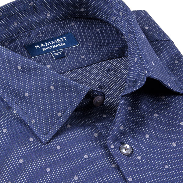 Navy Blue With Grey Spot Tailored Fit Men's Shirt