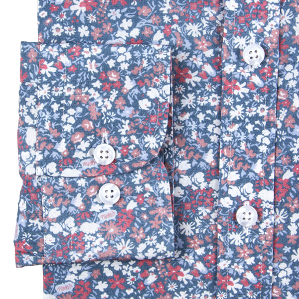 Blue Floral Print Regular Fit Men's Shirt