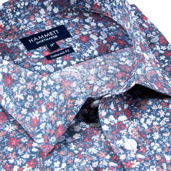 Blue Floral Print Tailored Fit Men's Shirt