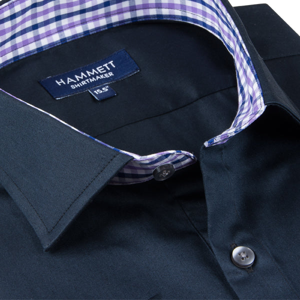 Navy Fine Poplin Men's Shirt With Designer Contrast Detail