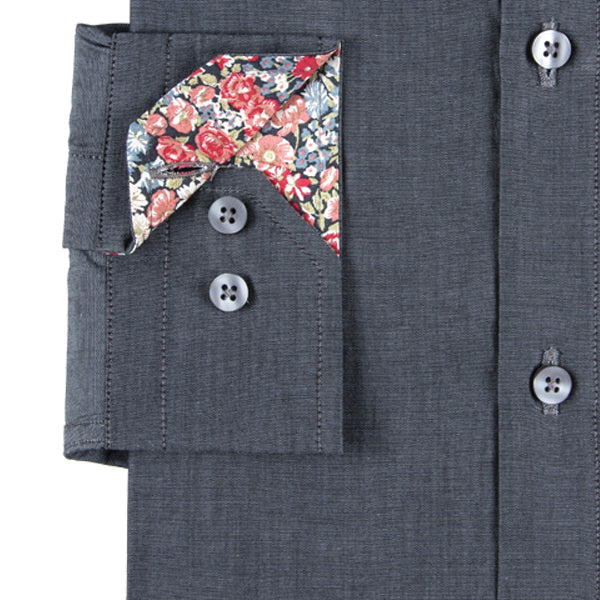 Dark Grey Men's Shirt With Liberty Print Contrast Detail