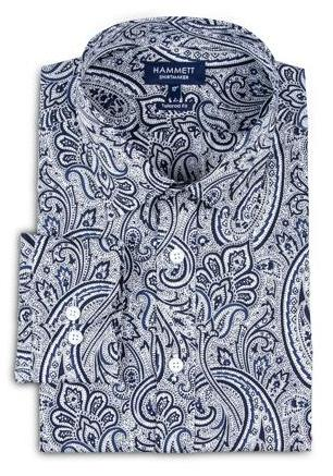 Navy Blue Paisley Print Men's Shirt