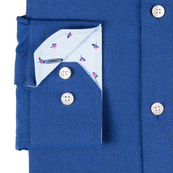 Dark Blue Pinpoint Oxford Men's Shirt With Designer Contrast Detail