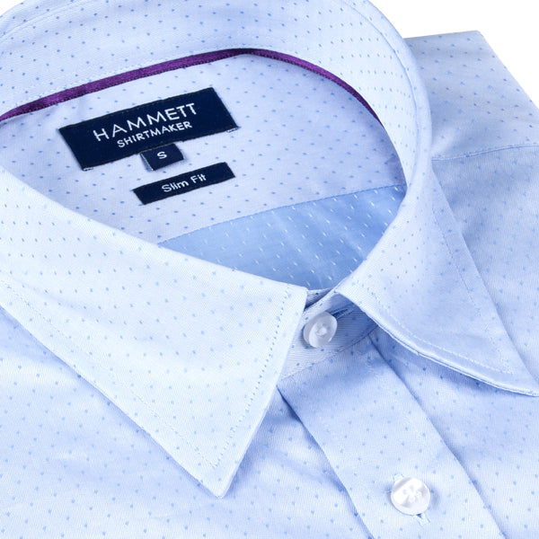 Pale Blue Woven Spot Formal Men's Shirt