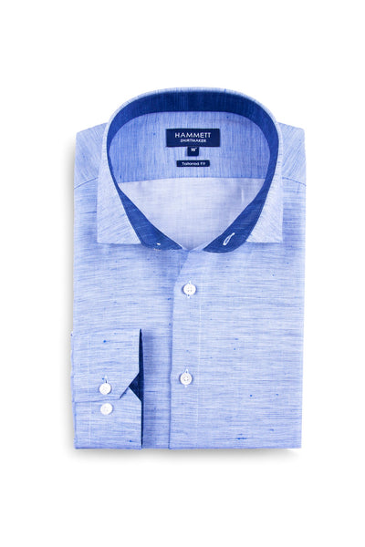 Blue linen slub effect cotton sophisticated smart casual men's shirt