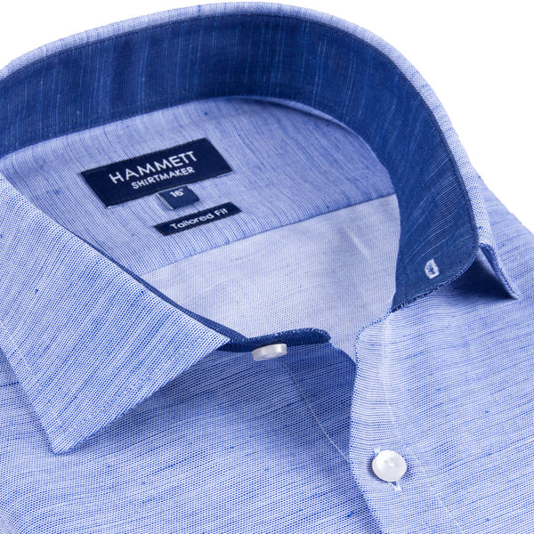 Blue Slub Effect Cotton Sophisticated Smart Casual Men's Shirt