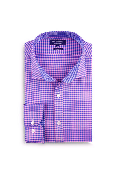 Pink & Blue luxury oxford gingham check men's smart casual shirt