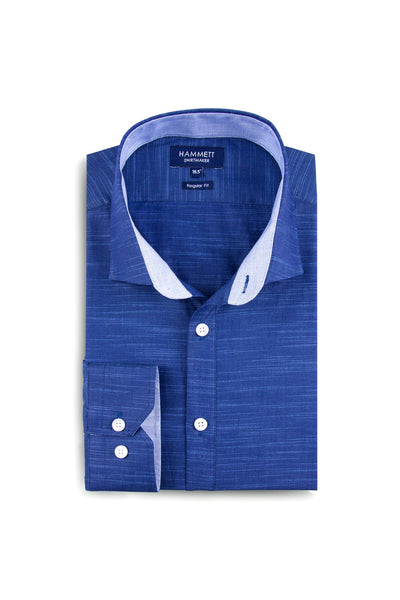 Navy linen slub effect cotton sophisticated smart casual men's shirt