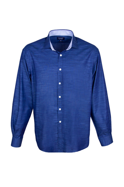 Navy Slub Effect Cotton Sophisticated Smart Casual Men's Shirt