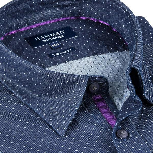 Spot Weave Dark Blue Denim Men's Shirt