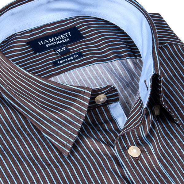 Brown & Blue Finest Twill Stripe Men's Shirt