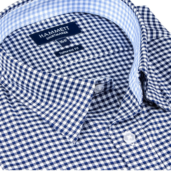 Navy Blue Gingham Check Formal Men's Shirt