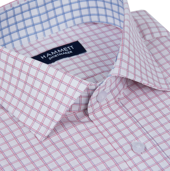 Pink Fine Twill Grid Check Formal Men's Shirt