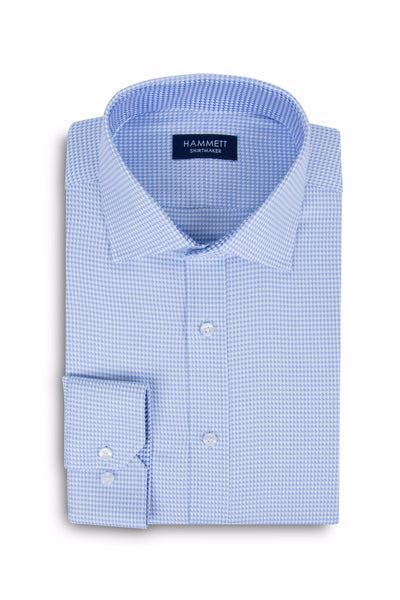 Sky Blue Luxury Twill Dogtooth Check Formal Men's Shirt