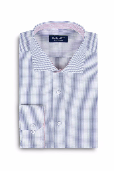 Fine Poplin Navy Mini Grid Check Formal Men's Shirt