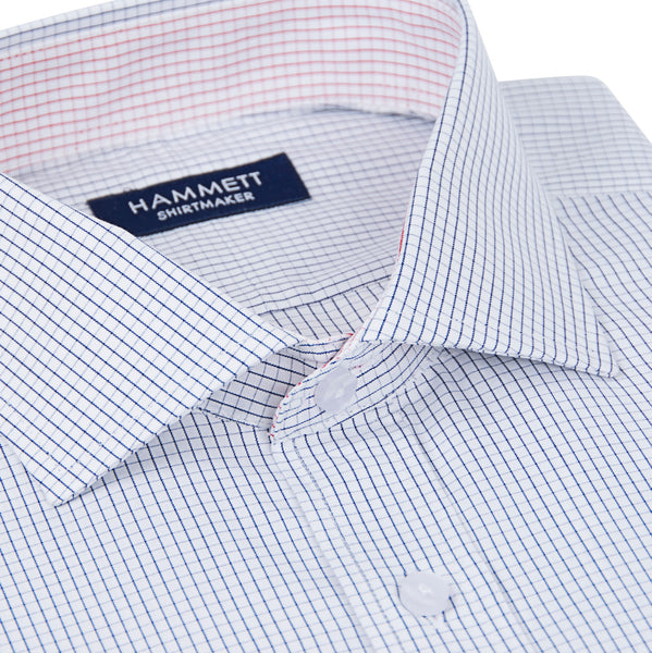 Fine Poplin Navy Mini Grid Check Men's Shirt