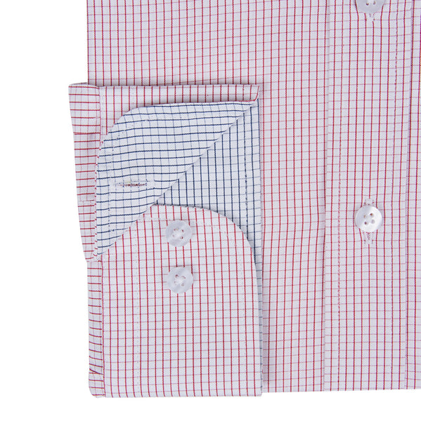 Fine Poplin Red Mini Grid Check Men's Shirt