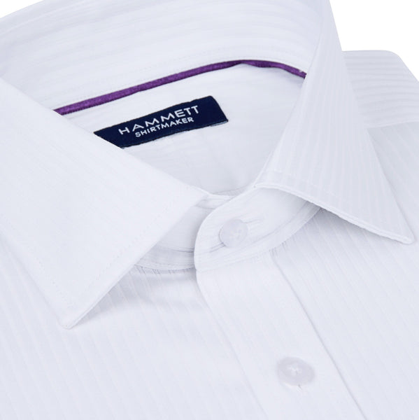 White Self Stripe Formal Men's Shirt
