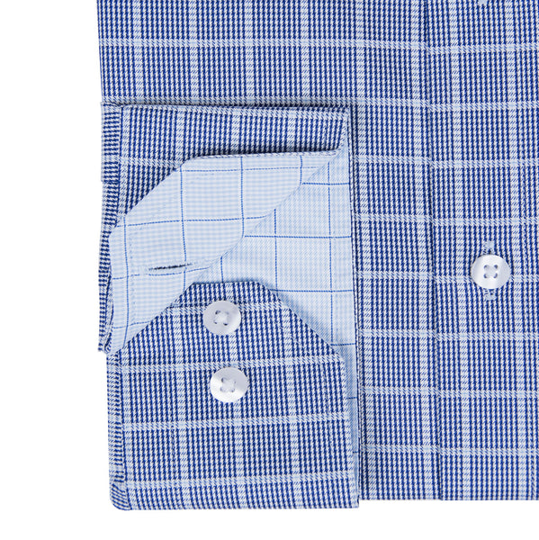 Navy Blue Twill Graph Check Formal Men's Shirt