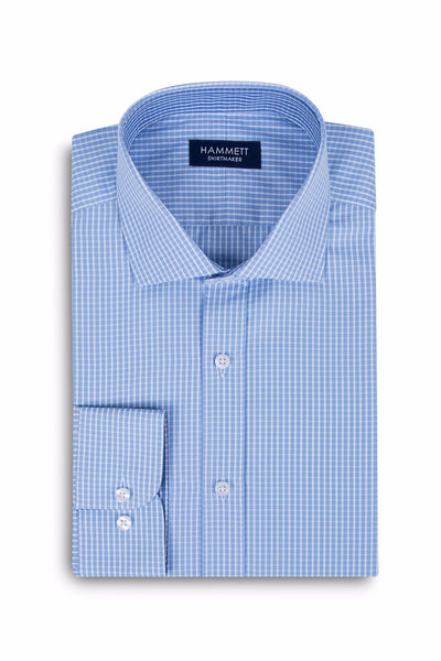 Blue Fine Poplin Check Formal Men's Shirt