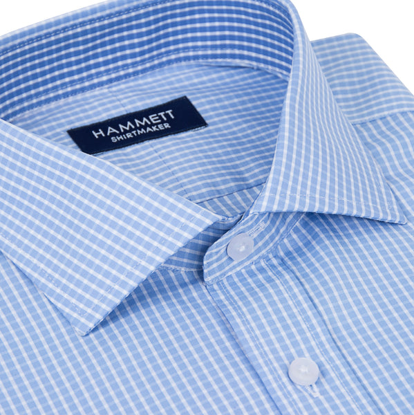 Blue Fine Poplin Check Men's Shirt