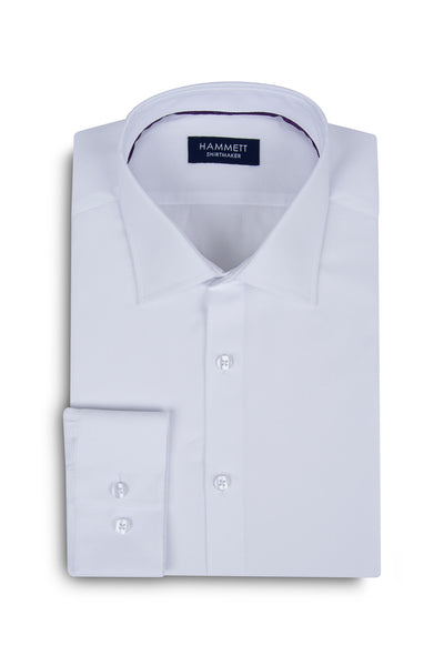 White Self Micro Basket Weave Men's Shirt