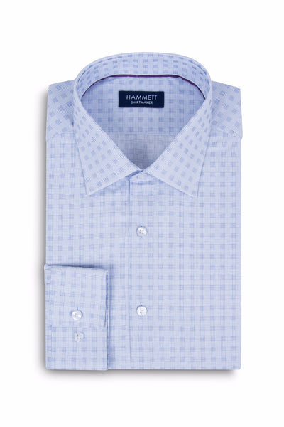 Blue Fine Micro Grid Check Formal Men's Shirt