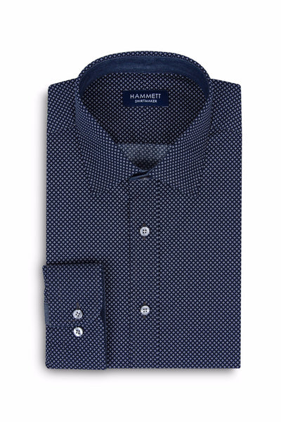 Navy Blue Poplin Micro Motif Print Smart Casual Men's Shirt