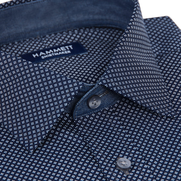 Navy Blue Poplin Micro Motif Print Men's Shirt