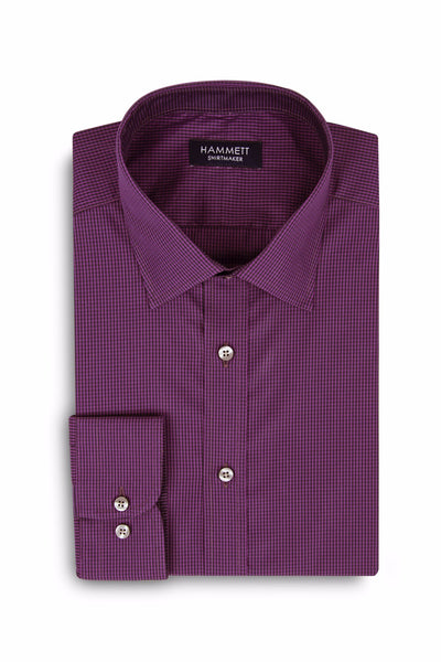 Purple & Black Mini Gingham Check Stretch Cotton Men's Shirt