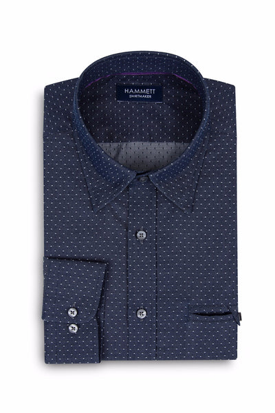 Spot Weave Dark Blue Denim Smart Casual Men's Shirt