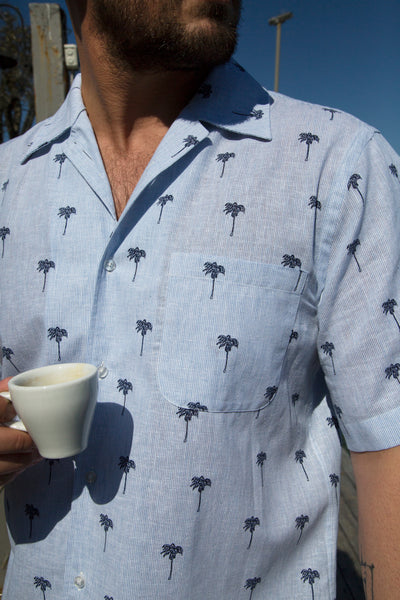 The DUBAI men's blue palm shirt
