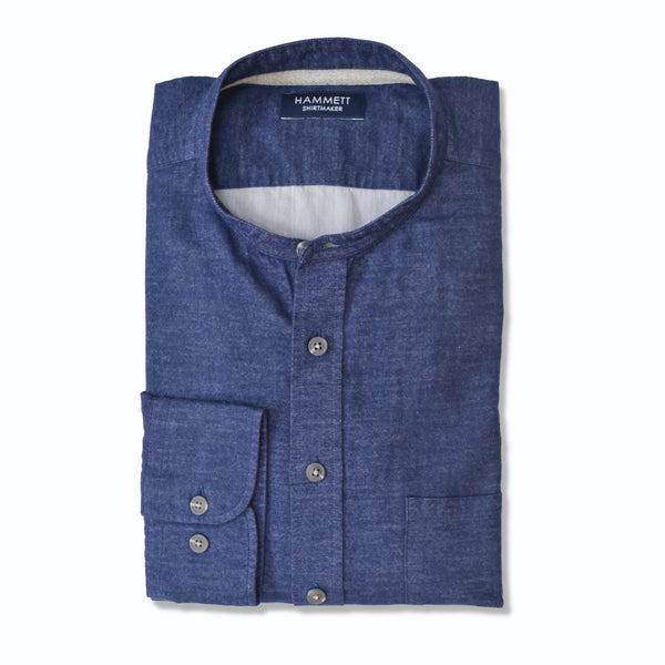 Navy Blue Brushed Cotton Casual Men's Shirt