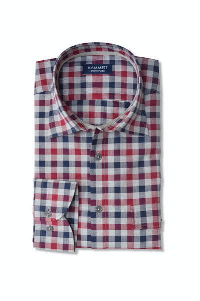 Multi Colour Gingham Herringbone Check Casual Men's Shirt