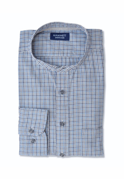 Blue & Grey Soft Oxford Mini Check Casual Men's Shirt