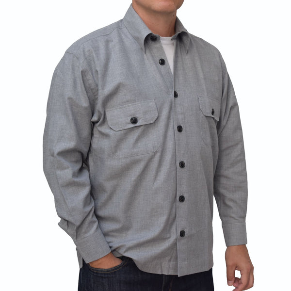 Pale Grey Marl Flannel Men's Overshirt