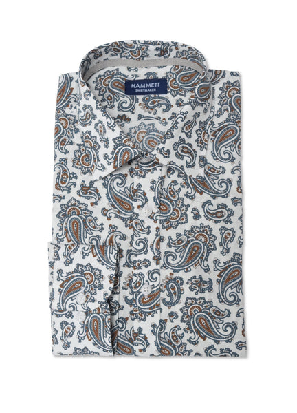 Dark Green Paisley Print Smart Casual Men's Shirt