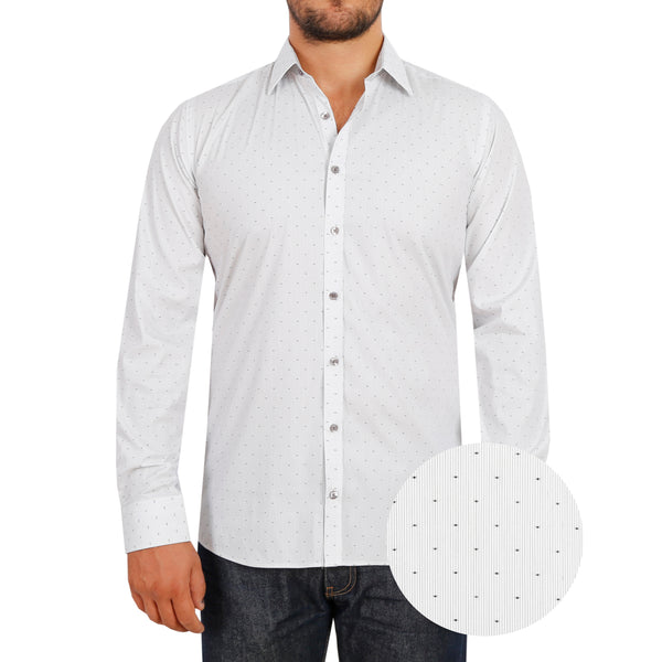 Spot & Fine Stripe White Stretch Cotton Men's Shirt