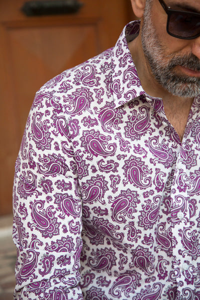 Purple Paisley Print Smart Casual Men's Shirt