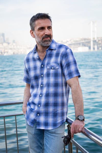 304089fde432 100% Luxury Linen Navy & Blue Check Short Sleeve Men's Casual Shirt With  Flap Pocket