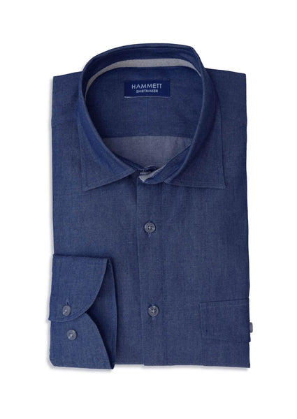 Denim Dark Blue Wash Casual Men's Shirt