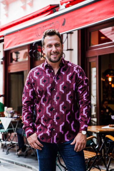 The STOCKHOLM - Men's Dark Burgundy Geo Print Shirt