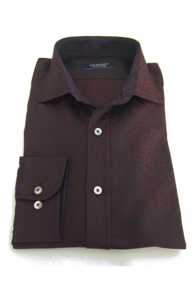 Finest Twill Paisley Pattern Burgundy Men's Shirt