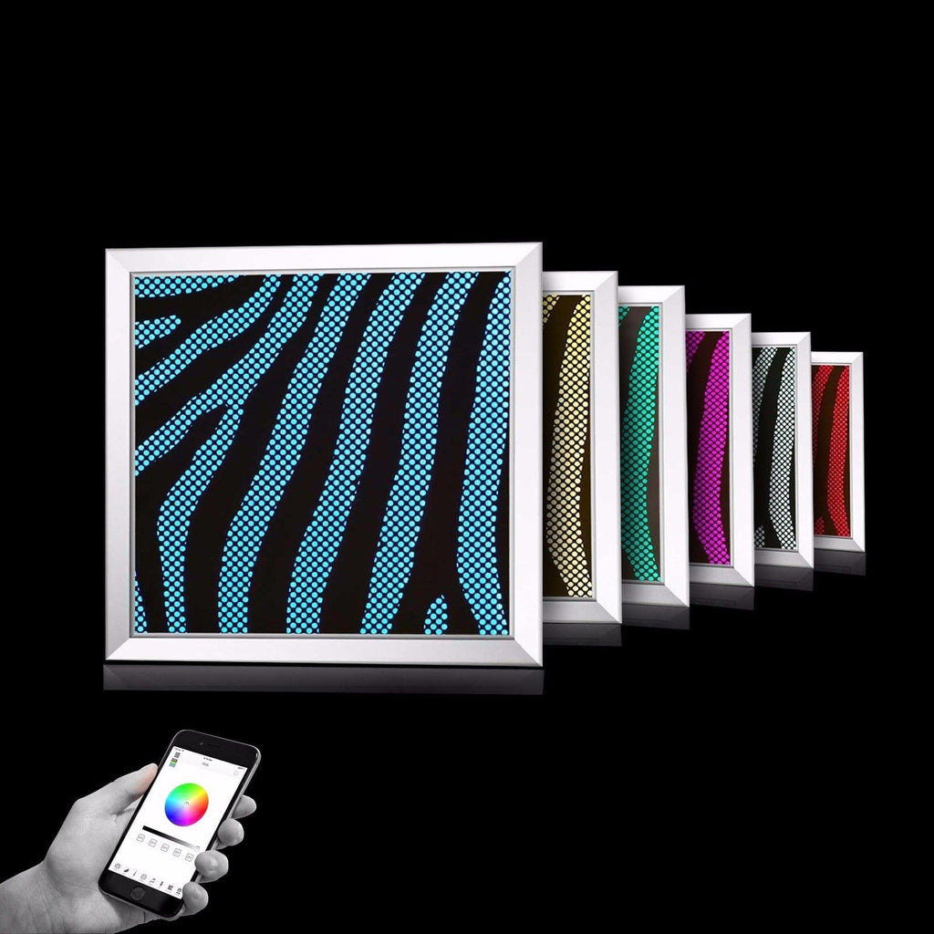 Zebra Pattern, Milan Collection, WiFi Control, Home, office Decor, Modern decoration. LED art piece wi-fi multicolored red pink green neon lights interchangeable lips sensual home décor piece modern minimalist unique design perfect present women man high-end premium quality safe easy to install app, UL, CE and RoSH certified. WiFi control (iPhone, iPad and Android), modern or classic living. luxury decor designer artwork