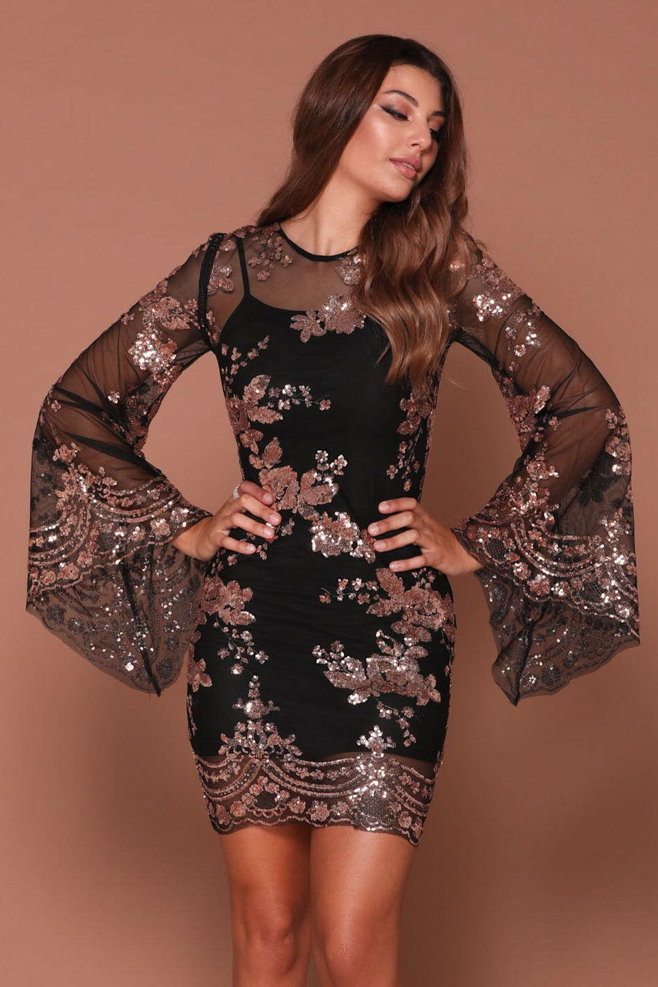 fa82e80ee4f NAZZ COLLECTION FLIRT BLACK   ROSE GOLD BATWING FLORAL SEQUIN SCALLOPED  KAFTAN DRESS