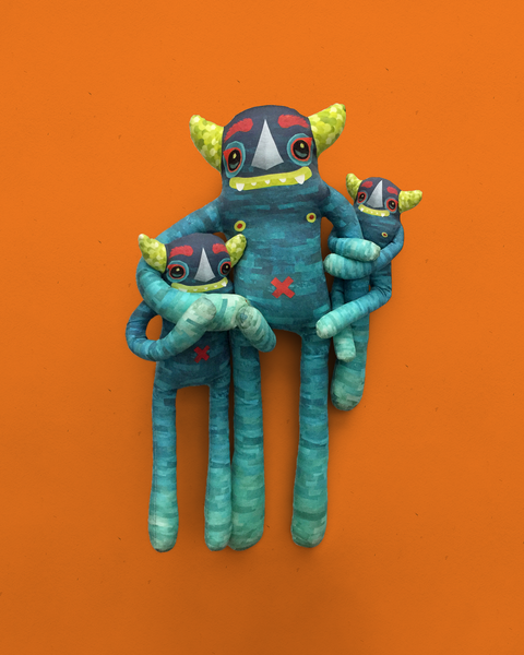 Diego - Papercut Monsters - Handmade Stuffed Toy