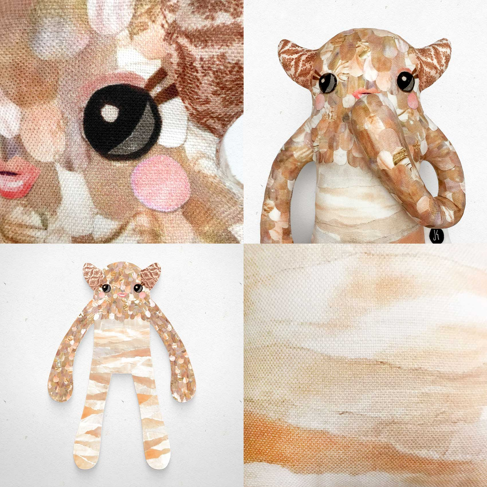 Pearl - Papercut Monsters - Handmade Stuffed Toy